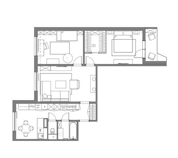 Планировка трехкомнатной квартиры в доме серии П44