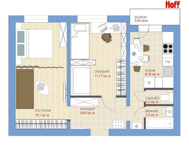 Фотография:  в стиле , Квартира, Планировки, HOFF, Перепланировка, HOFF, П-43, Анастасия Киселева, 2 комнаты, 40-60 метров – фото на INMYROOM