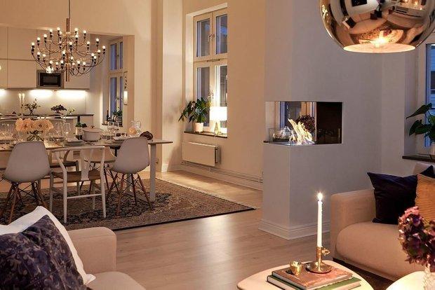 Фотография: Гостиная в стиле Современный, Скандинавский, Декор интерьера, Квартира, Швеция, Мебель и свет, скандинавский интерьер, освещение в квартире, как выбрать освещение для комнаты, 3 комнаты, Более 90 метров – фото на INMYROOM