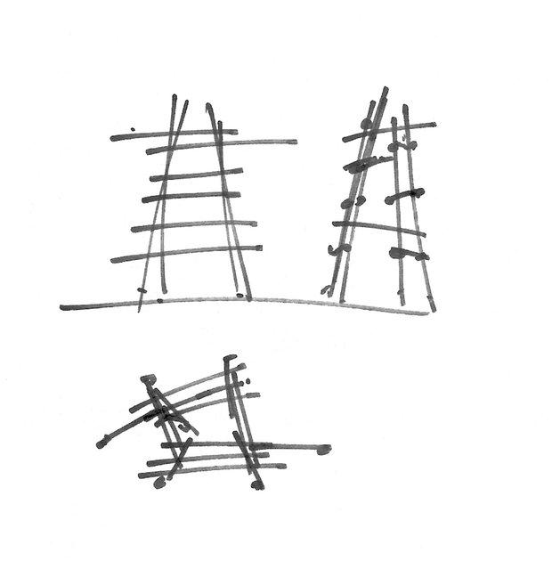 Наброски для проекта вешалки Tøjtræ для PP Møbler