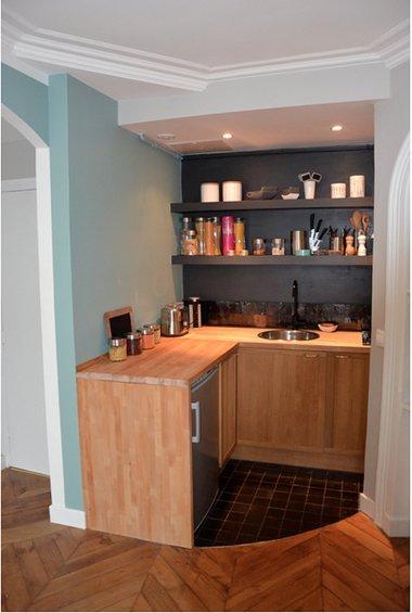 Фотография: Кухня и столовая в стиле Минимализм, Классический, Малогабаритная квартира, Квартира, Дома и квартиры, Париж – фото на INMYROOM