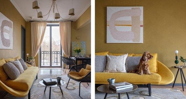 Фотография:  в стиле , Гостиная, Гид, желтый диван, желтый диван в интерьере – фото на INMYROOM