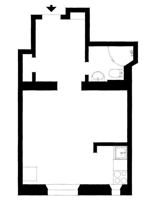 Фотография: Планировки в стиле , Скандинавский, Декор интерьера, Квартира, Швеция, Минимализм, Черный, Бежевый, Стокгольм, идеи для малогабариток, как оформить малогабаритку, дизайн малогабаритки, до 40 метров – фото на INMYROOM