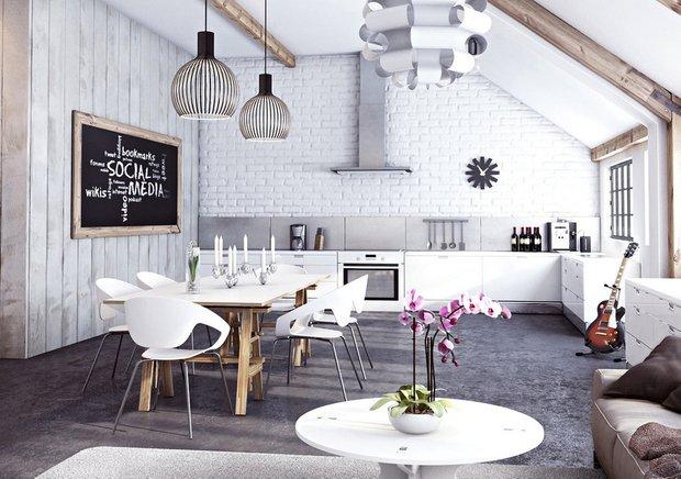 Фотография: Кухня и столовая в стиле Скандинавский, Прованс и Кантри, Лофт, Декор, Советы, Ремонт на практике, кирпич в интерьере, покраска кирпичной стены, кирпичная стена, кирпичная стена в интерьере, краска для кирпичной стены – фото на INMYROOM