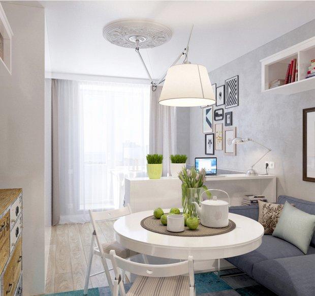 Фотография: Гостиная в стиле Скандинавский, Декор интерьера, DIY, Малогабаритная квартира, Квартира, Белый, Бежевый, Серый – фото на INMYROOM