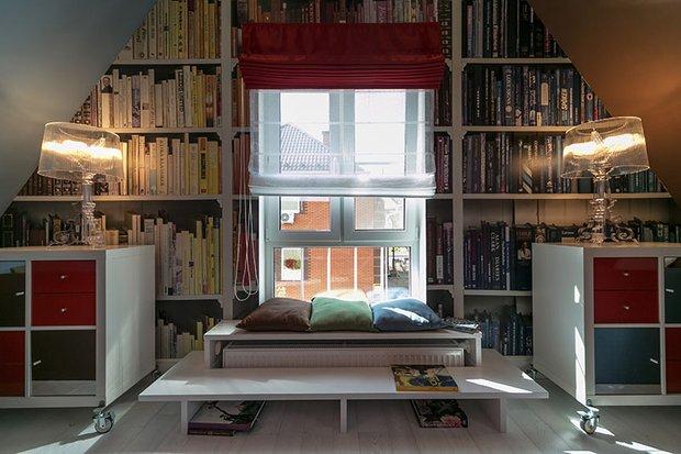 Фотография: Гостиная в стиле Современный, Спальня, Лофт, Интерьер комнат, Дача, Дачный ответ, Библиотека, Мансарда – фото на INMYROOM