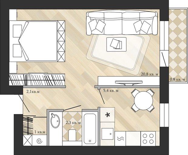 Фотография: Планировки в стиле , Перепланировка, Анастасия Киселева, Максим Джураев, однушка, Блочный дом – фото на INMYROOM