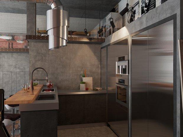 Фотография: Кухня и столовая в стиле Лофт, Квартира, Проект недели, Москва, Дарья Ухлинова, Кирпичный дом, 1 комната, 40-60 метров, ЖК Depre Loft – фото на INMYROOM
