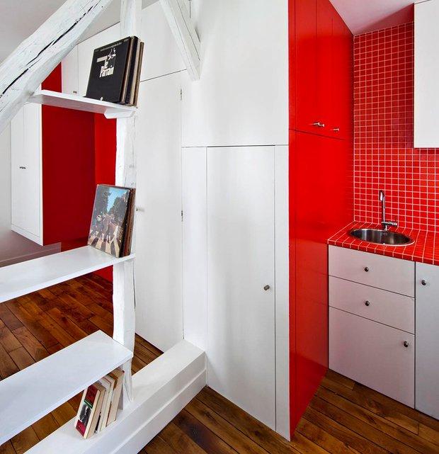 Фотография: Кухня и столовая в стиле Современный, Малогабаритная квартира, Квартира, Дома и квартиры, Париж – фото на INMYROOM