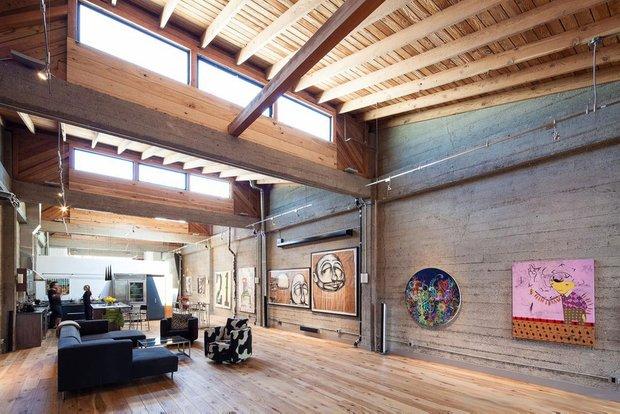 Фотография: Гостиная в стиле Лофт, Квартира, Дома и квартиры, Проект недели, Футуризм, Потолок – фото на INMYROOM