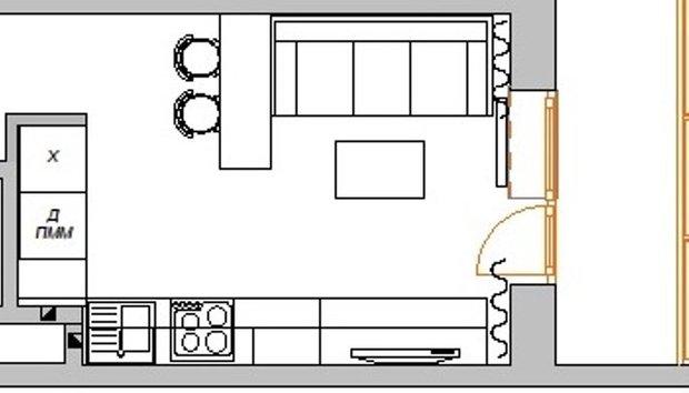 Фотография: Планировки в стиле , Кухня и столовая, Гостиная, Малогабаритная квартира, Квартира, Интерьер комнат, Фотообои – фото на INMYROOM