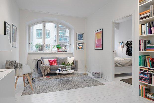 Фотография: Гостиная в стиле Скандинавский, Малогабаритная квартира, Квартира, Швеция, Дома и квартиры, Гетеборг – фото на INMYROOM