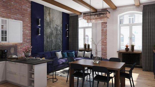 Фотография: Кухня и столовая в стиле Лофт, Советы, Перепланировка, Марина Лаптева – фото на INMYROOM