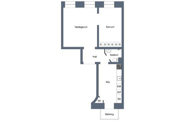 Фотография: Планировки в стиле , Скандинавский, Малогабаритная квартира, Квартира, Цвет в интерьере, Дома и квартиры, Белый – фото на INMYROOM