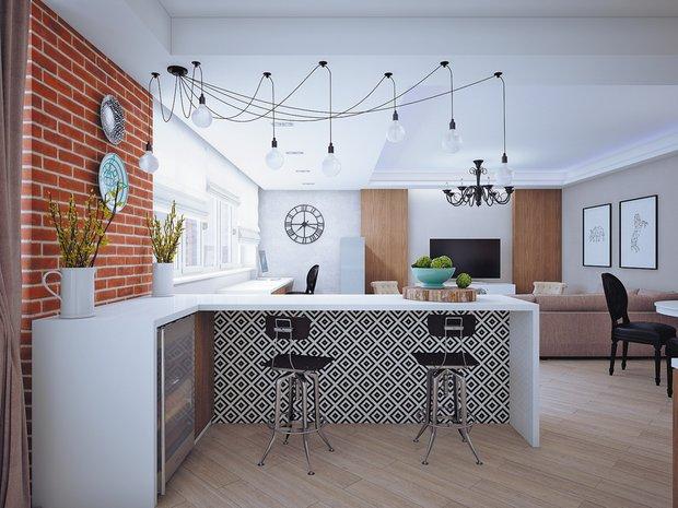 Фотография: Кухня и столовая в стиле Лофт, Современный, Эклектика, Классический, Квартира, Планировки, Мебель и свет, Проект недели – фото на INMYROOM