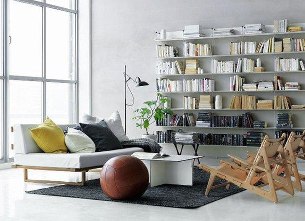 Фотография: Гостиная в стиле Скандинавский, Современный, Системы хранения, Библиотека, Домашняя библиотека – фото на INMYROOM