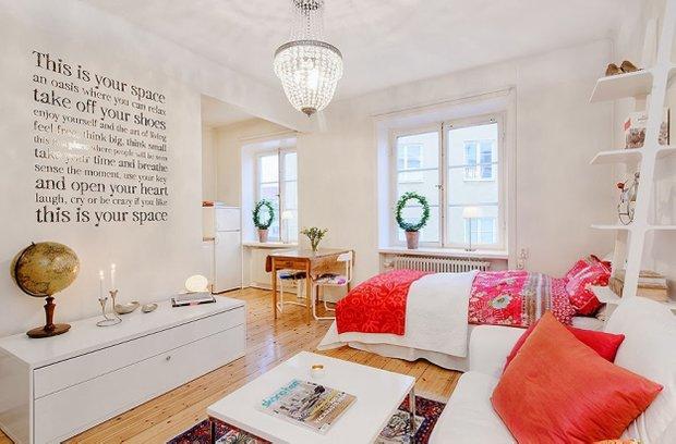 Фотография: Гостиная в стиле Современный, Скандинавский, Малогабаритная квартира, Квартира, Швеция, Дома и квартиры – фото на INMYROOM