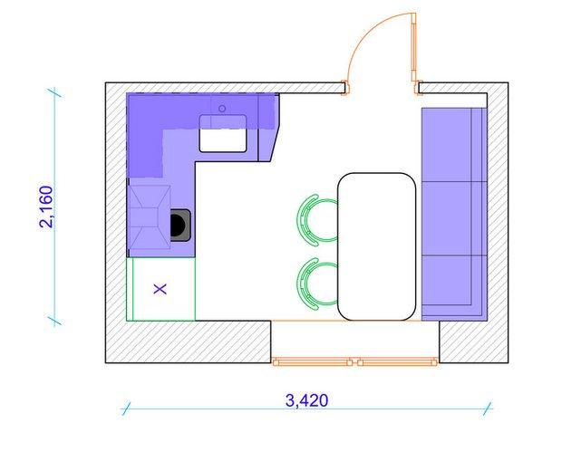Фотография: Планировки в стиле , Кухня и столовая, Квартира, Перепланировка, Гид, Максим Панин, Николай Твердов, маленькая кухня, идеи планировки маленькой кухни, Панельный дом, П44т – фото на INMYROOM