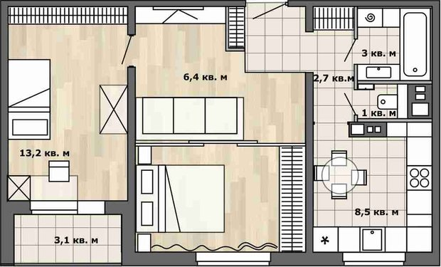 Фотография: Планировки в стиле , Перепланировка, П-30, Анастасия Киселева, Максим Джураев, дом серии П-30, планировка двухкомнатной квартиры в панельном доме, как обустроить двухкомнатную квартиру в панельном доме, перепланировка двухкомнатной квартиры в доме серии П-30 – фото на INMYROOM