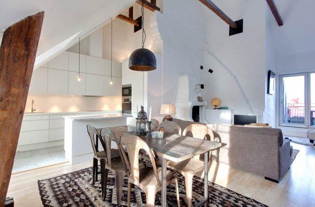 Фотография: Кухня и столовая в стиле Лофт, Скандинавский, Квартира, Дома и квартиры, Минимализм – фото на INMYROOM