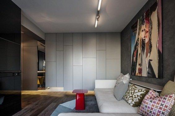 Фотография: Гостиная в стиле Лофт, Современный, Малогабаритная квартира, Квартира, Цвет в интерьере, Дома и квартиры, Серый, Умный дом, Будапешт – фото на INMYROOM