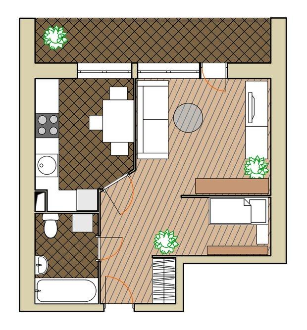 Фотография: Планировки в стиле , Малогабаритная квартира, Квартира, Дома и квартиры, Перепланировка, Блочный дом, II-68 – фото на INMYROOM