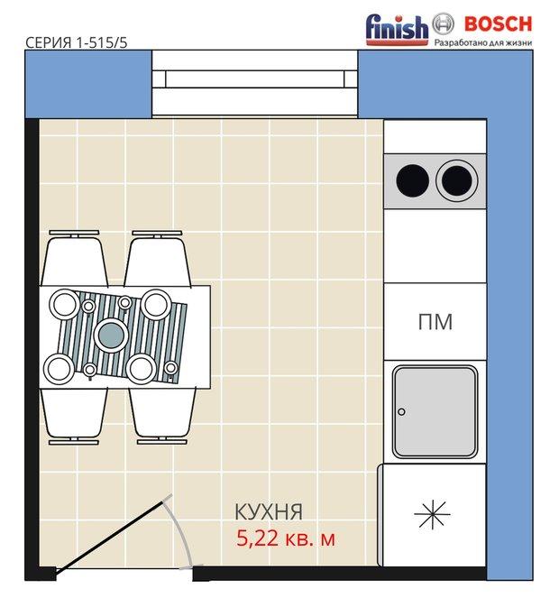 Фотография:  в стиле , Кухня и столовая, BOSCH, Перепланировка, Анастасия Киселева, Панельный дом, Finish, 1 комната, до 40 метров, I-515/5 – фото на INMYROOM