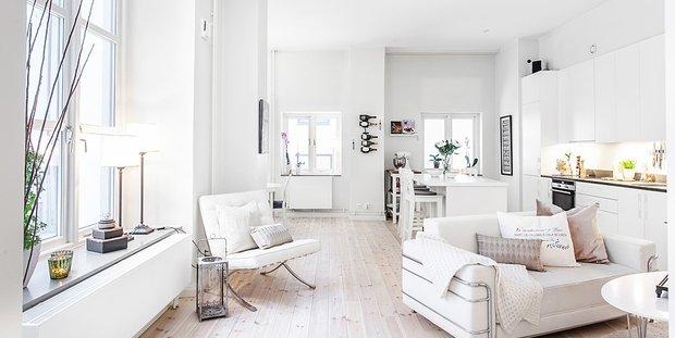 Фотография: Гостиная в стиле Скандинавский, Декор интерьера, Дизайн интерьера, Цвет в интерьере, Советы, Белый – фото на INMYROOM