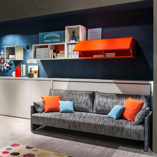 Фотография: Гостиная в стиле Лофт, Современный, Советы, Бежевый, Серый, Мебель-трансформер, кровать-трансформер, диван-кровать – фото на INMYROOM