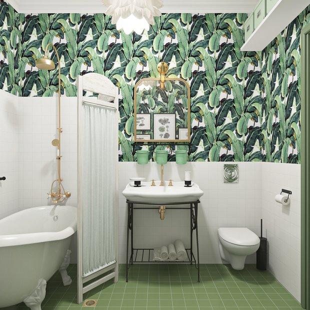 Фотография: Ванная в стиле Прованс и Кантри, Советы, как поклеить обои, как подобрать обои в интерьер, Ксения Мезенцева, обои в интерьере, обои в ванной – фото на INMYROOM