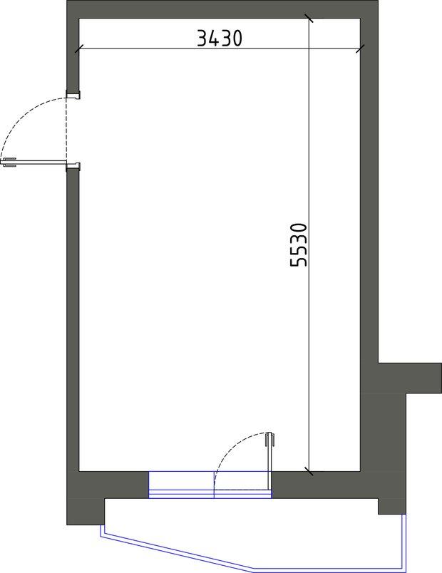 Планировка комнаты площадью 18,9 кв. м в однокомнатной квартире 38,4 кв. м в панельном доме серии П-44