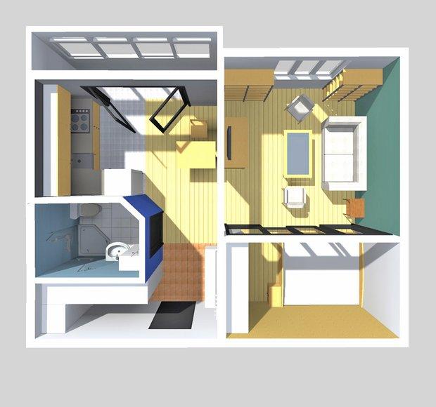 Фотография: Прихожая в стиле Современный, Малогабаритная квартира, Квартира, Планировки, Перепланировка, П-43, Панельный дом, 1 комната, до 40 метров – фото на INMYROOM