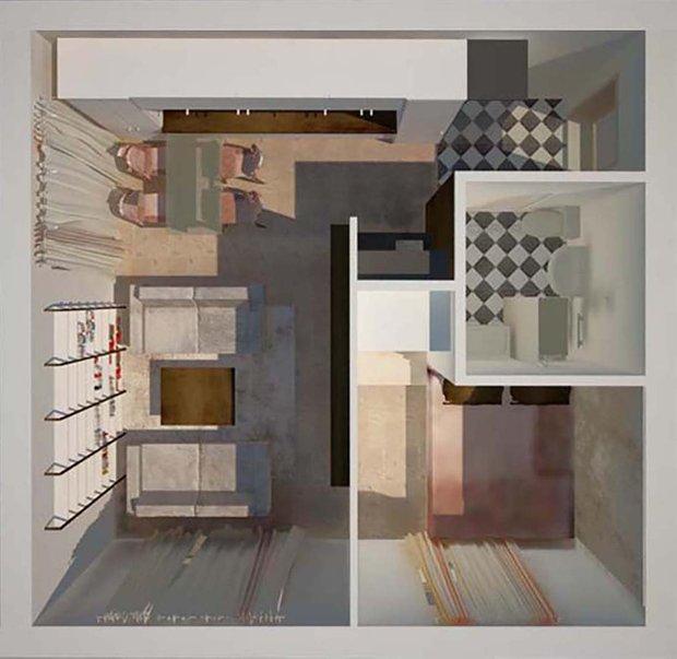Фотография:  в стиле , Малогабаритная квартира, Перепланировка, Светлана Гусарова, однушка в доме серии 1-511, идеи обустройства однушки, дизайн угловой однушки, перепланировка угловой однушки, планировка угловой однокомнатной квартиры – фото на INMYROOM