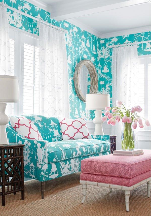 Фотография: Гостиная в стиле , Декор интерьера, Дизайн интерьера, Цвет в интерьере, Белый, Серый, Бирюзовый – фото на INMYROOM