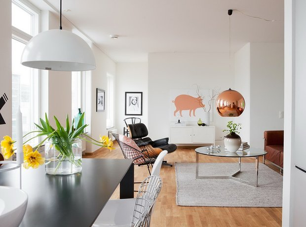 Фотография: Гостиная в стиле Скандинавский, Малогабаритная квартира, Квартира, Австралия, Цвет в интерьере, Дома и квартиры, Белый, Ретро – фото на INMYROOM