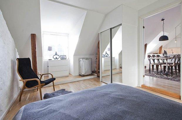 Фотография: Спальня в стиле Лофт, Скандинавский, Квартира, Дома и квартиры, Минимализм – фото на InMyRoom.ru
