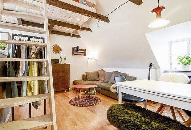 Фотография: Гостиная в стиле Прованс и Кантри, Лофт, Скандинавский, Малогабаритная квартира, Квартира, Швеция, Дома и квартиры – фото на INMYROOM