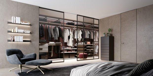 Фотография: Спальня в стиле Минимализм, Гид, Зонирование, Union, раздвижные перегородки, зонирование с помощью перегородок – фото на INMYROOM