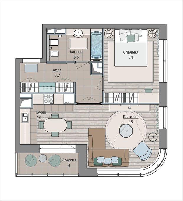 Фотография: Планировки в стиле , Квартира, Перепланировка, Москва, Ирина Леготкина, 2 комнаты, 40-60 метров, ЖК «Символ» – фото на INMYROOM