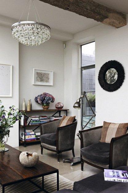 Фотография: Гостиная в стиле Прованс и Кантри, Лофт, Дом, Цвет в интерьере, Дома и квартиры, Лондон, Серый, Индустриальный – фото на INMYROOM