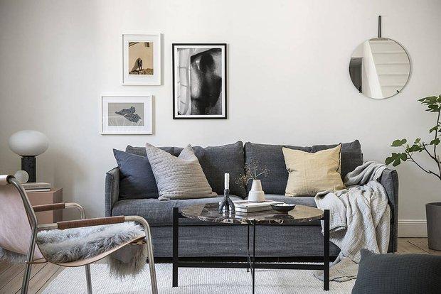Фотография: Гостиная в стиле Скандинавский, Современный, Декор интерьера, Квартира, Студия, Белый, Минимализм, Черный, до 40 метров – фото на INMYROOM