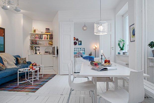 Фотография: Гостиная в стиле Скандинавский, Кухня и столовая, Малогабаритная квартира, Квартира, Дома и квартиры – фото на INMYROOM