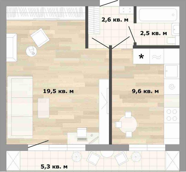Фотография: Планировки в стиле , Квартира, Перепланировка, как сделать перепланировку в однушке, Катерина Кореневская, перепланировка в однушке, согласовать перепланировку, Блочный дом, II-68-02 – фото на INMYROOM