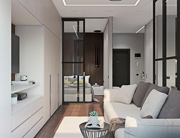 Фотография: Гостиная в стиле Современный, Гид, напольное покрытие, ламинат – фото на INMYROOM