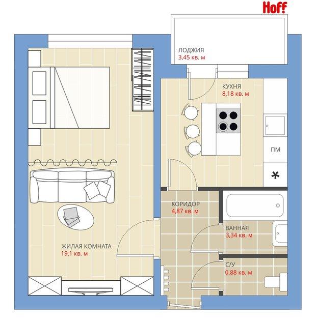 Фотография:  в стиле , Квартира, HOFF, Перепланировка, HOFF, П-43, Анастасия Киселева, Панельный дом, 1 комната, до 40 метров – фото на INMYROOM