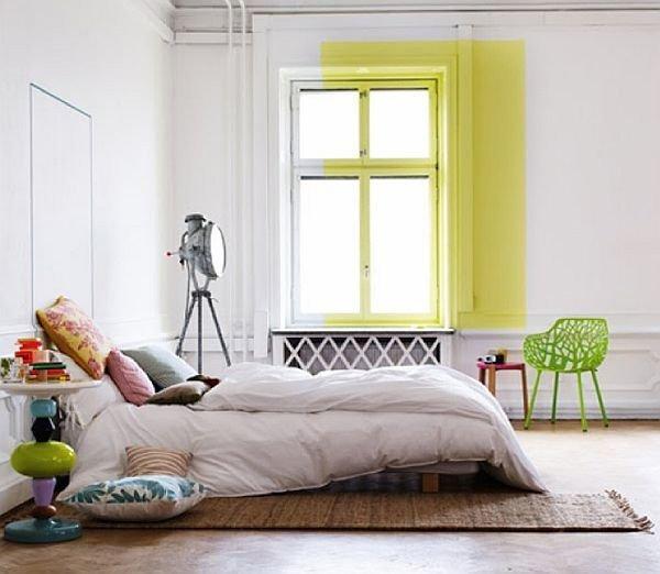 Фотография: Спальня в стиле Скандинавский, Современный, Декор интерьера, Дизайн интерьера, Цвет в интерьере, Желтый, Розовый, Оранжевый, Неон – фото на INMYROOM