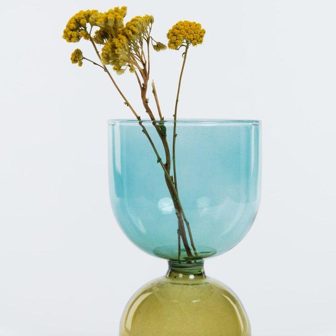 Ваза Dibe из желтого и бирюзового стекла