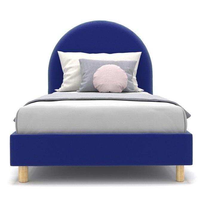 Односпальная кровать Alana на ножках синего цвета 80х160