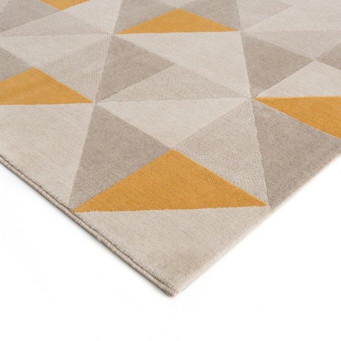 Ковер Elga с геометрическим рисунком желто-серого цвета 200x290