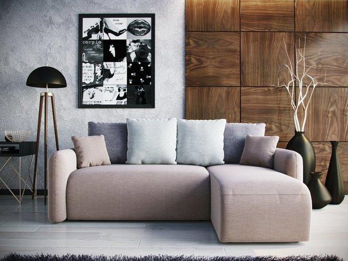 Угловой Диван-кровать Arti правый светло-серого цвета